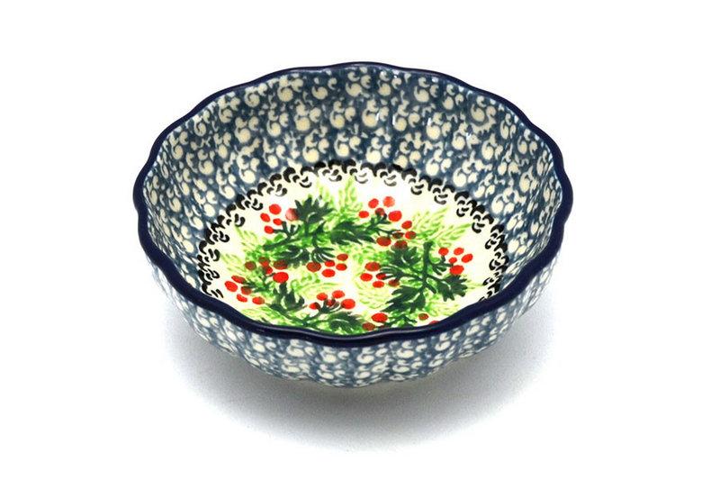 Ceramika Artystyczna Polish Pottery Bowl - Shallow Scalloped - Small - Holly Berry 023-1734a (Ceramika Artystyczna)