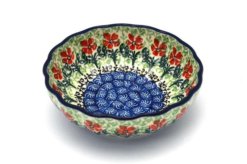 Ceramika Artystyczna Polish Pottery Bowl - Shallow Scalloped - Small - Maraschino 023-1916a (Ceramika Artystyczna)