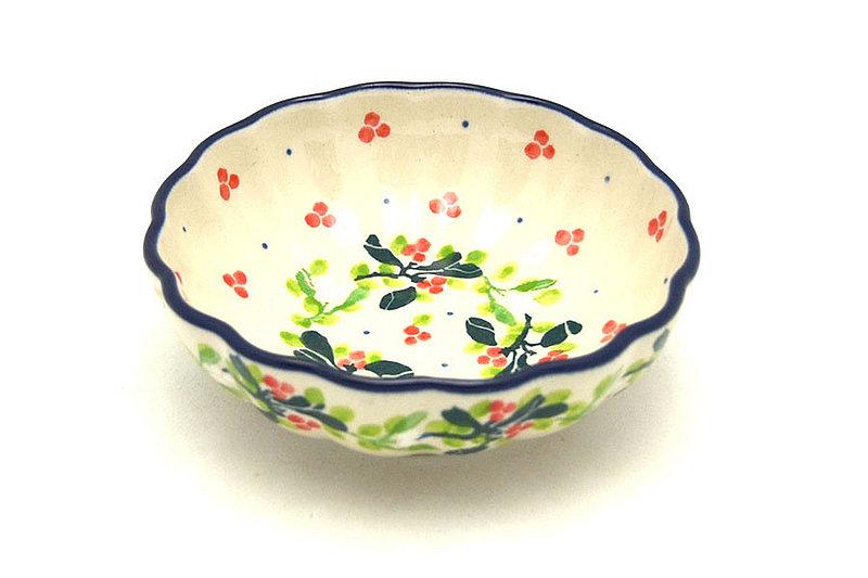Ceramika Artystyczna Polish Pottery Bowl - Shallow Scalloped - Small - Mistletoe 023-2390a (Ceramika Artystyczna )