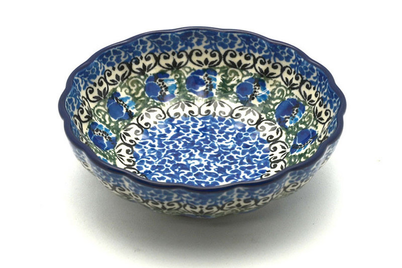 Ceramika Artystyczna Polish Pottery Bowl - Shallow Scalloped - Small - Peacock Feather 023-1513a (Ceramika Artystyczna)