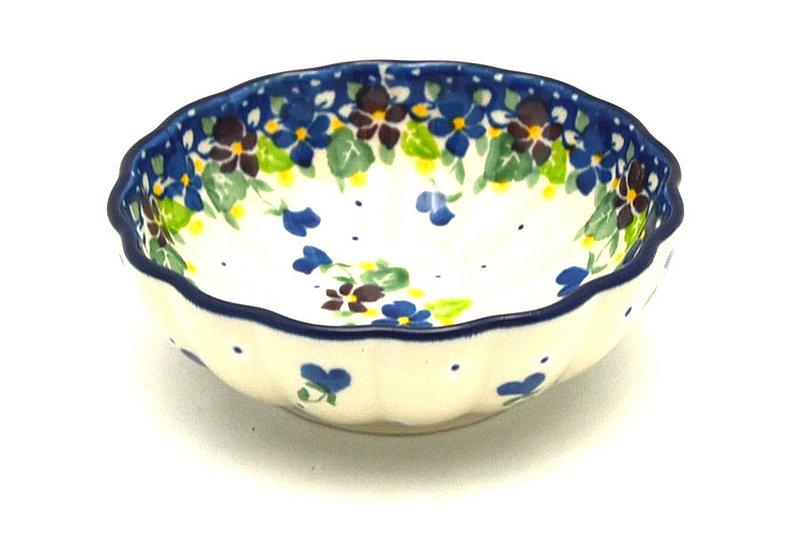Ceramika Artystyczna Polish Pottery Bowl - Shallow Scalloped - Small - Plum Luck 023-2509a (Ceramika Artystyczna )