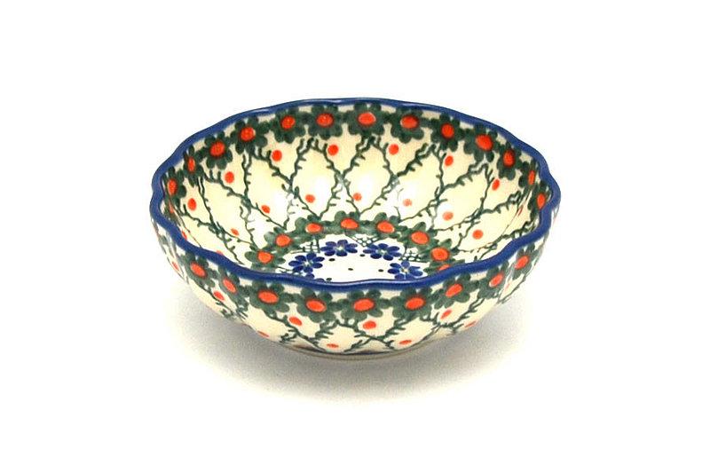 Ceramika Artystyczna Polish Pottery Bowl - Shallow Scalloped - Small - Primrose 023-854a (Ceramika Artystyczna)