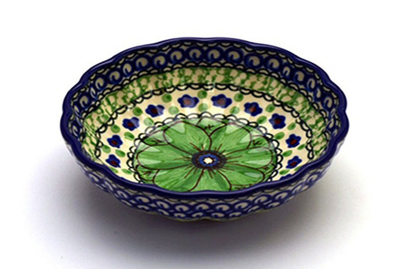 Ceramika Artystyczna Polish Pottery Bowl - Shallow Scalloped - Small - Unikat Signature U408A 023-U408A (Ceramika Artystyczna)