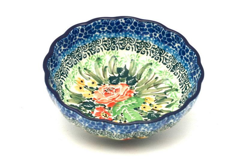 Ceramika Artystyczna Polish Pottery Bowl - Shallow Scalloped - Small - Unikat Signature U4400 023-U4400 (Ceramika Artystyczna)