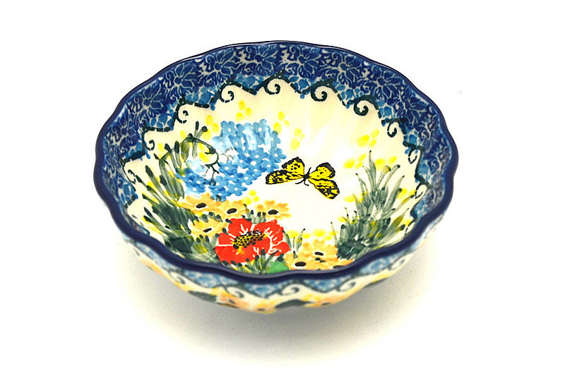 Ceramika Artystyczna Polish Pottery Bowl - Shallow Scalloped - Small - Unikat Signature U4592 023-U4592 (Ceramika Artystyczna)