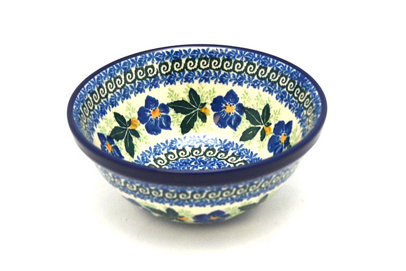 "Polish Pottery Bowl - Small Nesting (5 1/2"") - Blue Pansy"