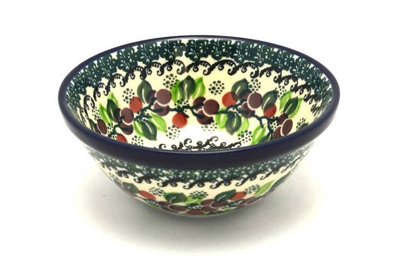 "Polish Pottery Bowl - Small Nesting (5 1/2"") - Burgundy Berry Green"