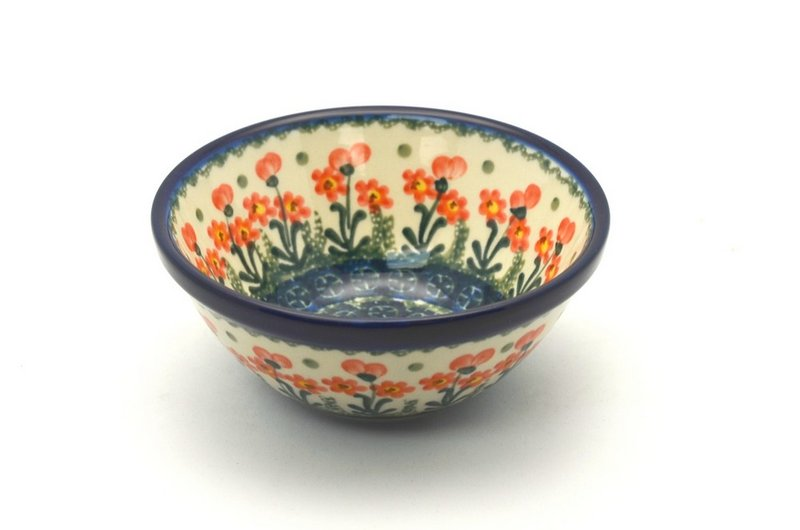 "Polish Pottery Bowl - Small Nesting (5 1/2"") - Peach Spring Daisy"