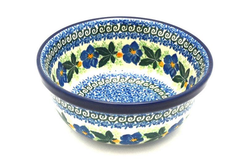 Ceramika Artystyczna Polish Pottery Bowl - Soup and Salad - Blue Pansy 209-1552a (Ceramika Artystyczna)