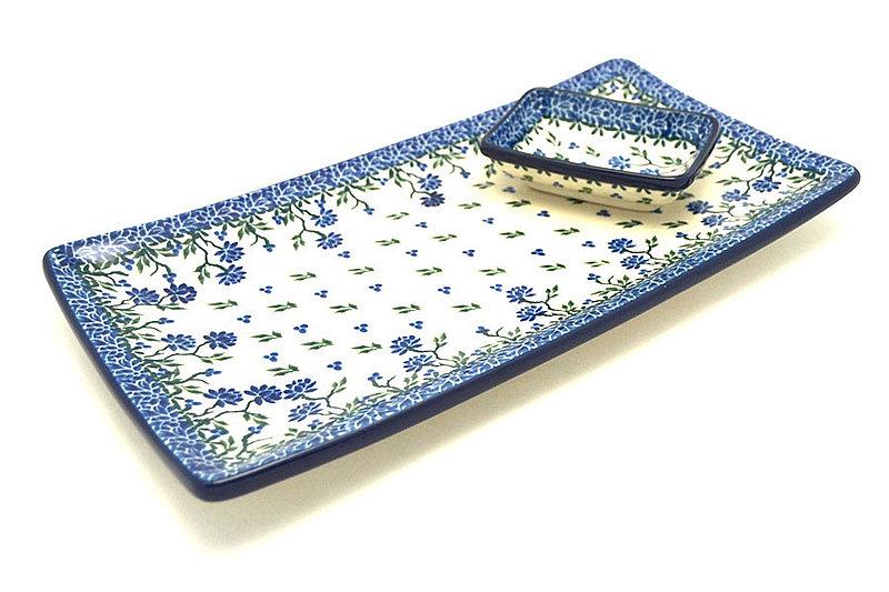 Ceramika Artystyczna Polish Pottery Bread Dipping Set - Blue Clover SC2-1978a (Ceramika Artystyczna)