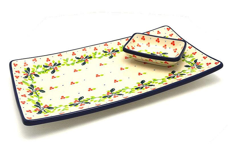 Ceramika Artystyczna Polish Pottery Bread Dipping Set - Mistletoe SC2-2390a (Ceramika Artystyczna)