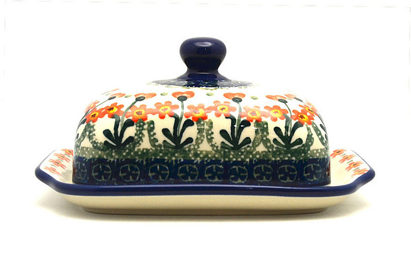 Ceramika Artystyczna Polish Pottery Butter Dish - Peach Spring Daisy 295-560a (Ceramika Artystyczna)