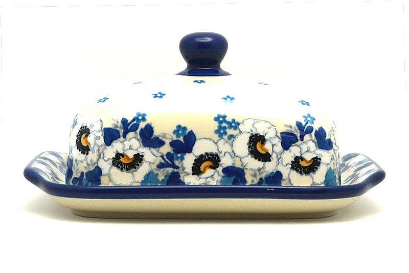 Ceramika Artystyczna Polish Pottery Butter Dish - White Poppy 295-2222a (Ceramika Artystyczna)