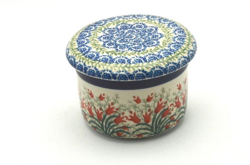 Ceramika Artystyczna Polish Pottery Butter Keeper - Crimson Bells 270-1437a (Ceramika Artystyczna)