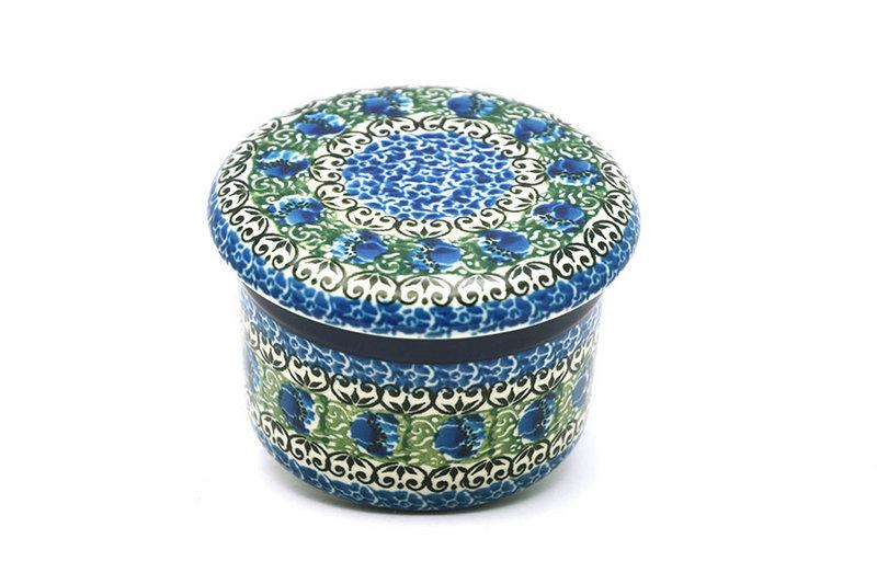 Ceramika Artystyczna Polish Pottery Butter Keeper - Peacock Feather 270-1513a (Ceramika Artystyczna)