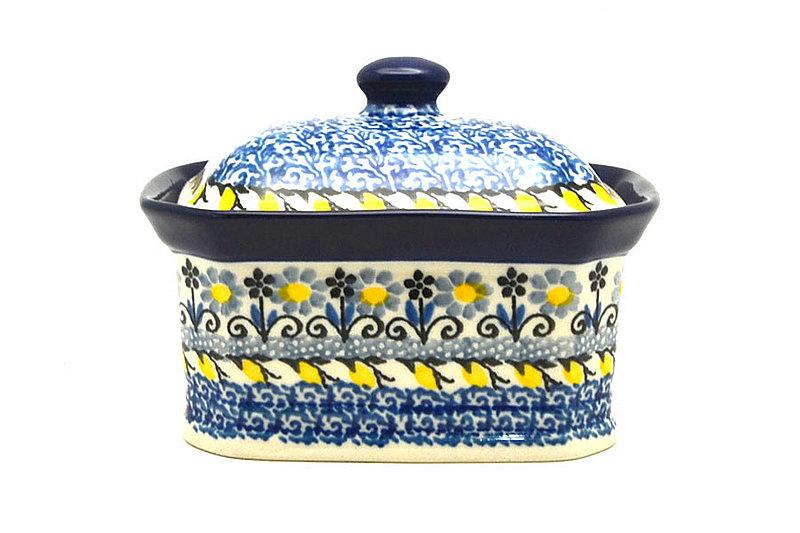 Ceramika Artystyczna Polish Pottery Cake Box - Small - Daisy Maize 385-2178a (Ceramika Artystyczna)