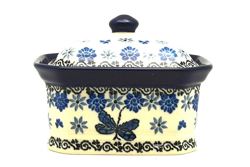 Ceramika Artystyczna Polish Pottery Cake Box - Small - Dragonfly 385-2009a (Ceramika Artystyczna)