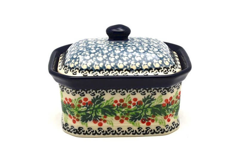 Ceramika Artystyczna Polish Pottery Cake Box - Small - Holly Berry 385-1734a (Ceramika Artystyczna)