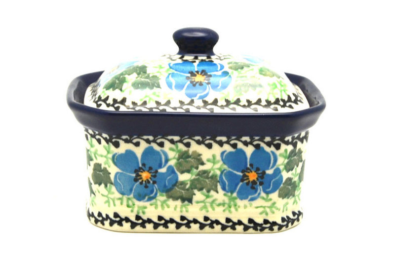 Ceramika Artystyczna Polish Pottery Cake Box - Small - Morning Glory 385-1915a (Ceramika Artystyczna)