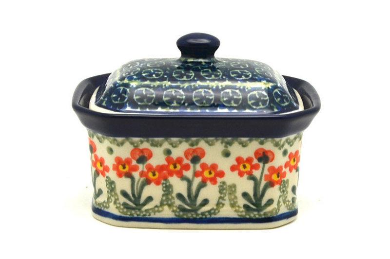 Ceramika Artystyczna Polish Pottery Cake Box - Small - Peach Spring Daisy 385-560a (Ceramika Artystyczna)