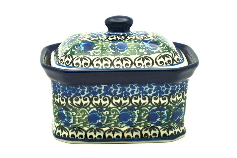 Ceramika Artystyczna Polish Pottery Cake Box - Small - Peacock Feather 385-1513a (Ceramika Artystyczna)
