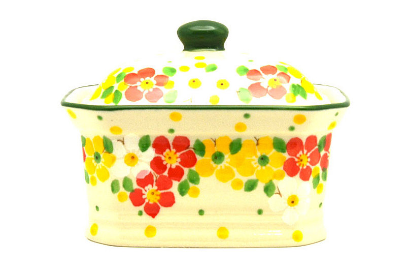 Ceramika Artystyczna Polish Pottery Cake Box - Small - Spring Blossom 385-2518q (Ceramika Artystyczna)