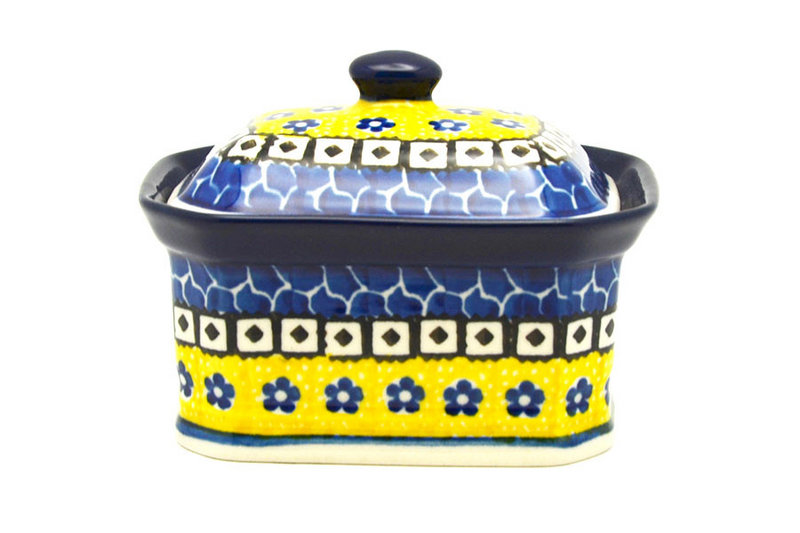 Ceramika Artystyczna Polish Pottery Cake Box - Small - Sunburst 385-859a (Ceramika Artystyczna)