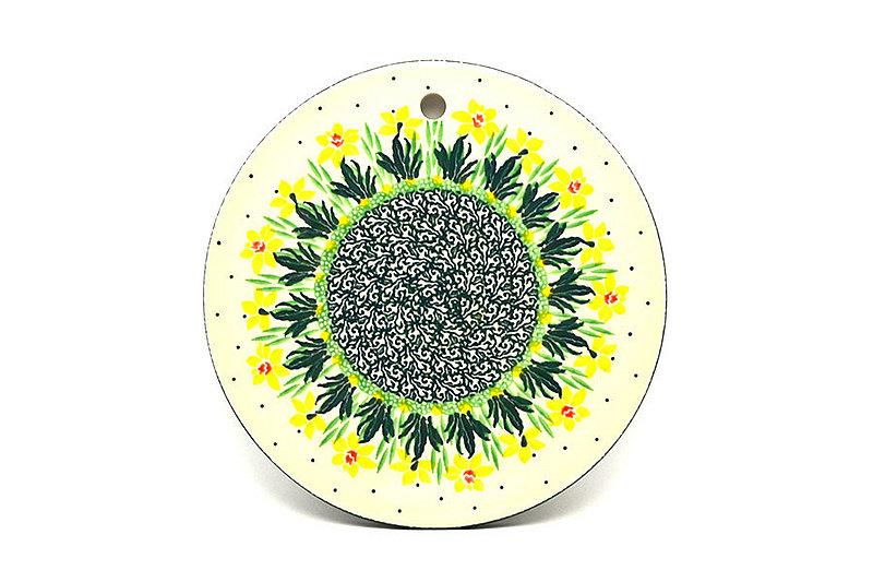 """Ceramika Artystyczna Polish Pottery Cheese Board - 7 1/4"""" - Daffodil 413-2122q (Ceramika Artystyczna)"""