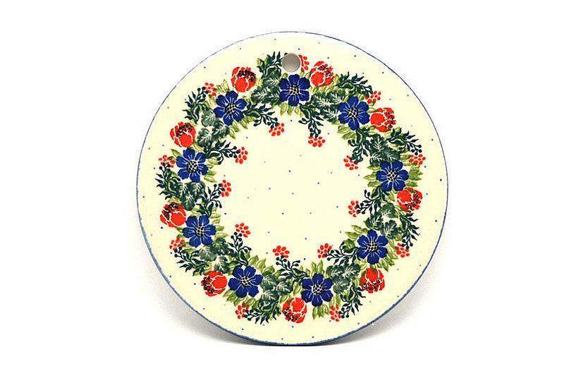 """Ceramika Artystyczna Polish Pottery Cheese Board - 7 1/4"""" - Garden Party 413-1535a (Ceramika Artystyczna)"""