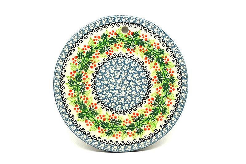 """Ceramika Artystyczna Polish Pottery Cheese Board - 7 1/4"""" - Holly Berry 413-1734a (Ceramika Artystyczna)"""