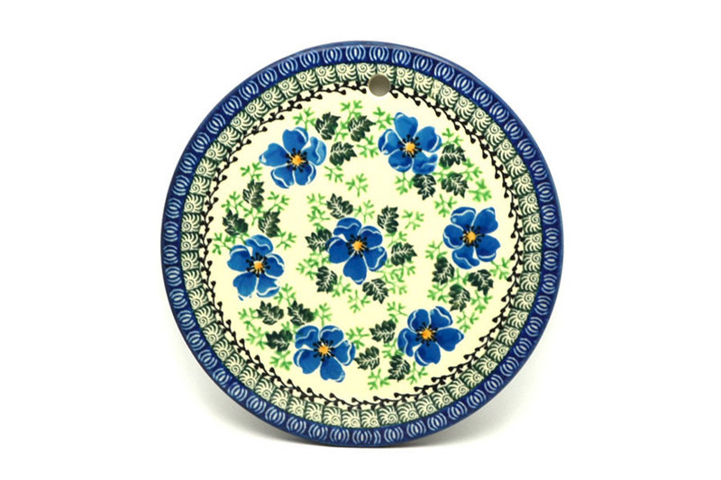 """Ceramika Artystyczna Polish Pottery Cheese Board - 7 1/4"""" - Morning Glory 413-1915a (Ceramika Artystyczna)"""