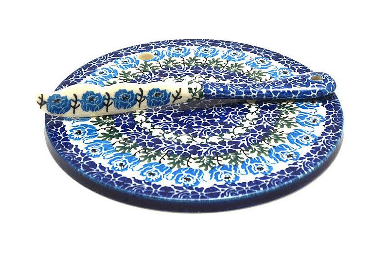 Ceramika Artystyczna Polish Pottery Cheese Board & Spreader Set - Antique Rose S56-1390a (Ceramika Artystyczna)