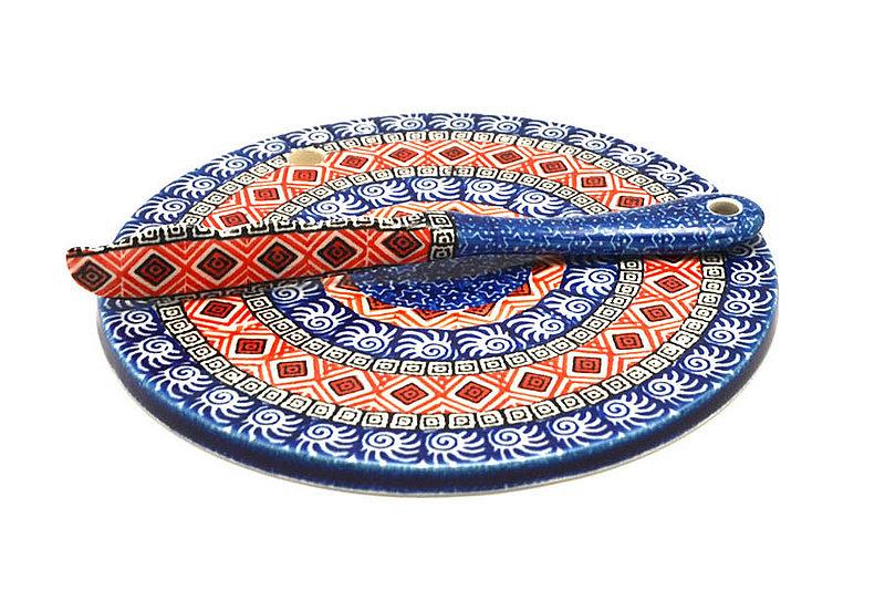 Ceramika Artystyczna Polish Pottery Cheese Board & Spreader Set - Aztec Sun S56-1350a (Ceramika Artystyczna)