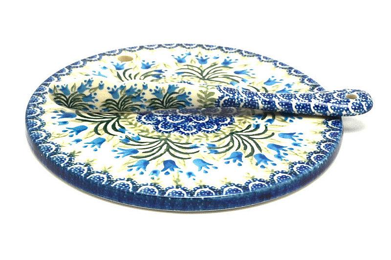 Ceramika Artystyczna Polish Pottery Cheese Board & Spreader Set - Blue Bells S56-1432a (Ceramika Artystyczna)