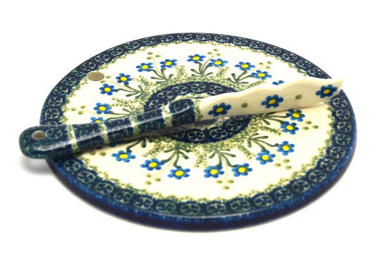 Ceramika Artystyczna Polish Pottery Cheese Board & Spreader Set - Blue Spring Daisy S56-614a (Ceramika Artystyczna)