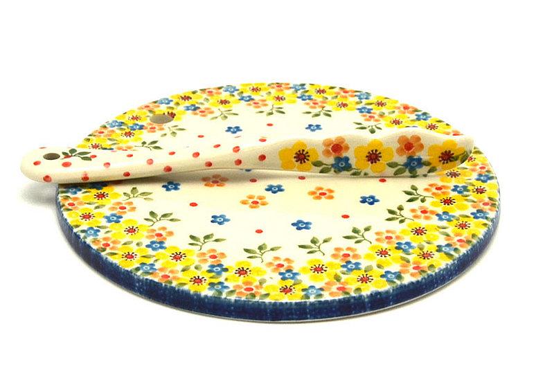 Ceramika Artystyczna Polish Pottery Cheese Board & Spreader Set - Buttercup S56-2225a (Ceramika Artystyczna)