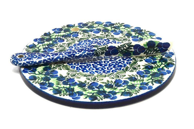 Ceramika Artystyczna Polish Pottery Cheese Board & Spreader Set - Huckleberry S56-1413a (Ceramika Artystyczna)