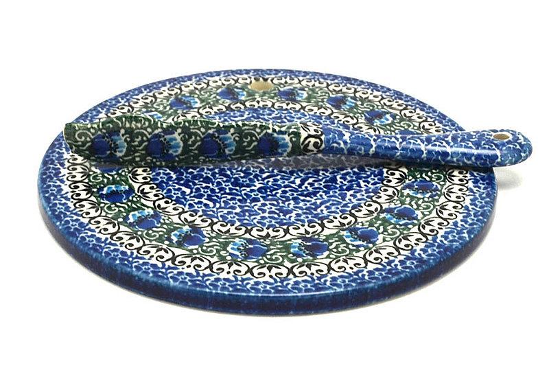 Ceramika Artystyczna Polish Pottery Cheese Board & Spreader Set - Peacock Feather S56-1513a (Ceramika Artystyczna)
