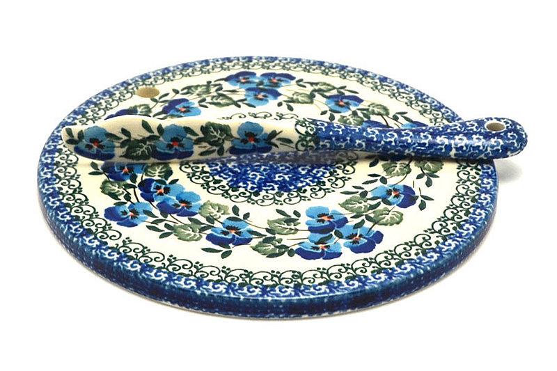 Ceramika Artystyczna Polish Pottery Cheese Board & Spreader Set - Winter Viola S56-2273a (Ceramika Artystyczna)