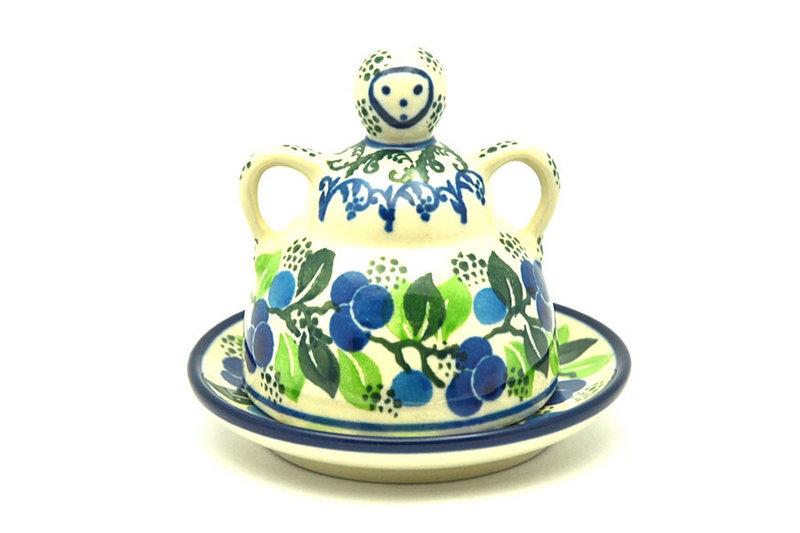Ceramika Artystyczna Polish Pottery Cheese Lady - Miniature - Blue Berries 112-1416a (Ceramika Artystyczna)