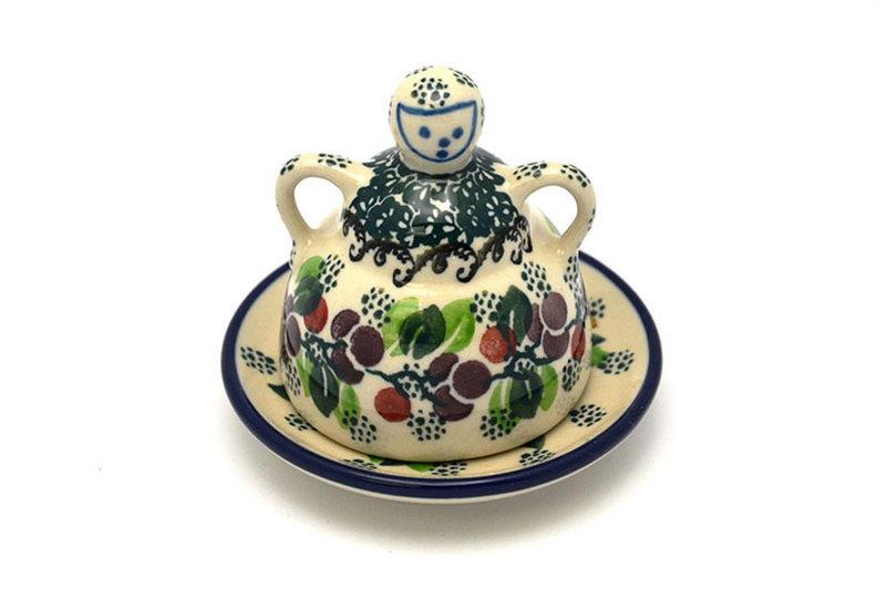 Ceramika Artystyczna Polish Pottery Cheese Lady - Miniature - Burgundy Berry Green 112-1415a (Ceramika Artystyczna)