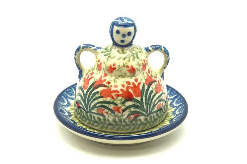 Ceramika Artystyczna Polish Pottery Cheese Lady - Miniature - Crimson Bells 112-1437a (Ceramika Artystyczna)