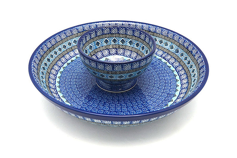 Ceramika Artystyczna Polish Pottery Chip & Dip Set - Aztec Sky S11-1917a (Ceramika Artystyczna)