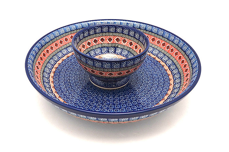 Ceramika Artystyczna Polish Pottery Chip & Dip Set - Aztec Sun S11-1350a (Ceramika Artystyczna)