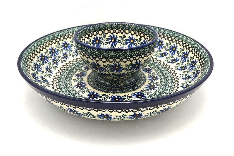 Ceramika Artystyczna Polish Pottery Chip & Dip Set - Blue Chicory S11-976a (Ceramika Artystyczna)