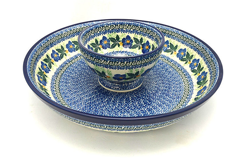 Ceramika Artystyczna Polish Pottery Chip & Dip Set - Blue Pansy S11-1552a (Ceramika Artystyczna)