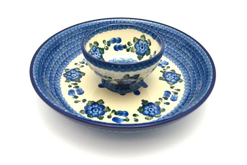 Ceramika Artystyczna Polish Pottery Chip & Dip Set - Blue Poppy S11-163a (Ceramika Artystyczna)