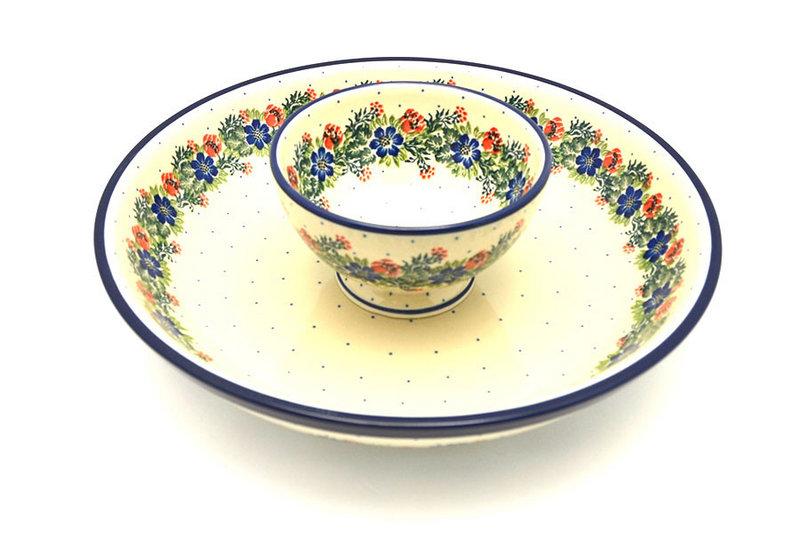 Ceramika Artystyczna Polish Pottery Chip & Dip Set - Garden Party S11-1535a (Ceramika Artystyczna)