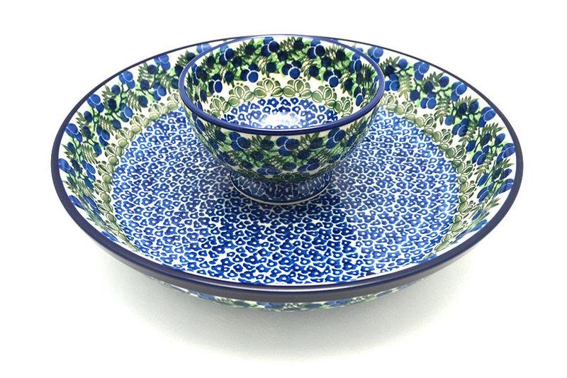 Ceramika Artystyczna Polish Pottery Chip & Dip Set - Huckleberry S11-1413a (Ceramika Artystyczna)