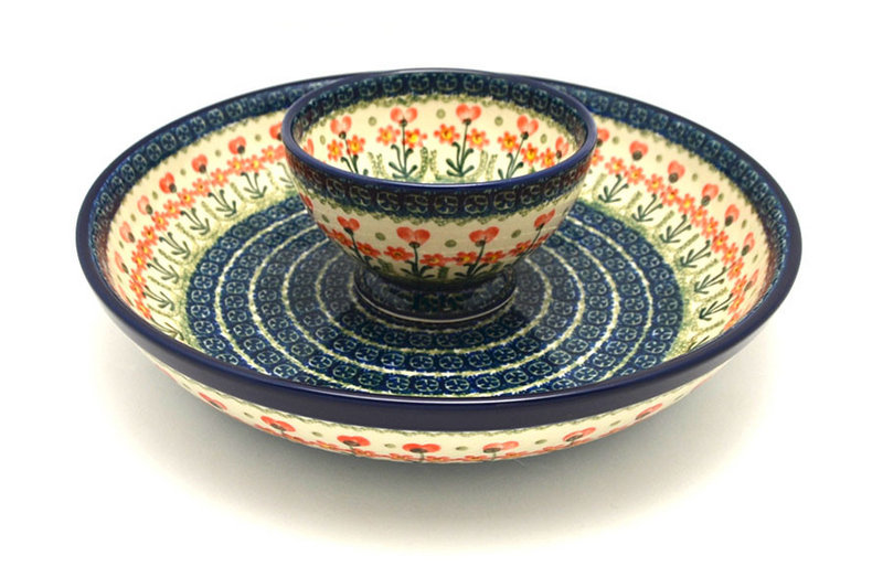 Ceramika Artystyczna Polish Pottery Chip & Dip Set - Peach Spring Daisy S11-560a (Ceramika Artystyczna)